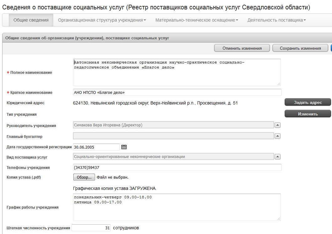 """web-сервис """"Сведения о поставщике социальных услуг"""". Общие сведения"""